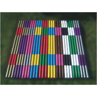 Plastic covered wooden pole 3 m with 2 color sleeves